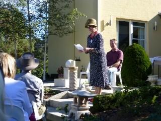 President Virginia Ross introducing Garden Party Guest Speaker and Gardening Expert John Gabriele