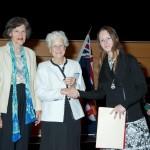 Greta Recsei, Ann (Edrith) Brooks wtih award winner Sarah Caruana